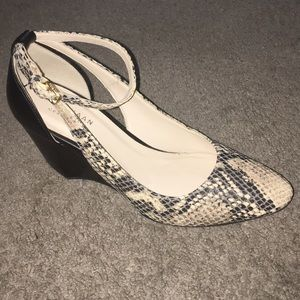 Cole Haan Lacey Cutout Wedge Snakeprint Leather
